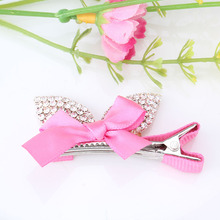 New Design Hot Girls Hair Accessories Ribbon With Bow Hairpins Princess Hair Clip Rhinestone Bowknot Barrette(China)
