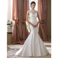 Newest Design Mermaid Wedding Dresses Sexy Crystal beaded high neck See Through Back Design Wedding Gowns 2017 Vestido De Noiva