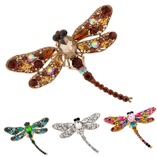 Women's Fashion Dragonfly Crystal Brooch Lovely Rhinestone Scarf Pin Jewelry