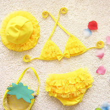 New Children's Two-Piece Suits for Girl kids swimwear child swimsuit solid Summer Style Swimwear for girls beach wear