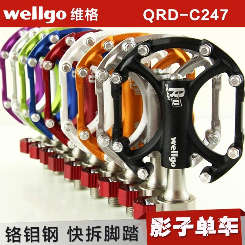 Wellgo QRD-C247 QRS bicycle bike new platform Alloy pedals anodized Green MTB<br><br>Aliexpress