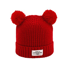 2017 Fashion Baby Children Ball Cap Letter Warm Winter Hats Knitted Wool Hemming newborn photography accessories(China)