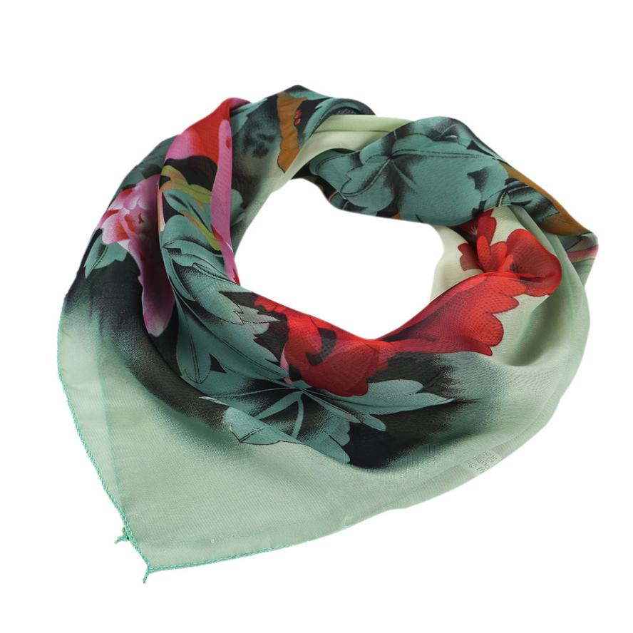 Women Peony Chiffon Printing Square Scarf Head Wrap Kerchief Neck Shawl for Women Office #LSN(China (Mainland))