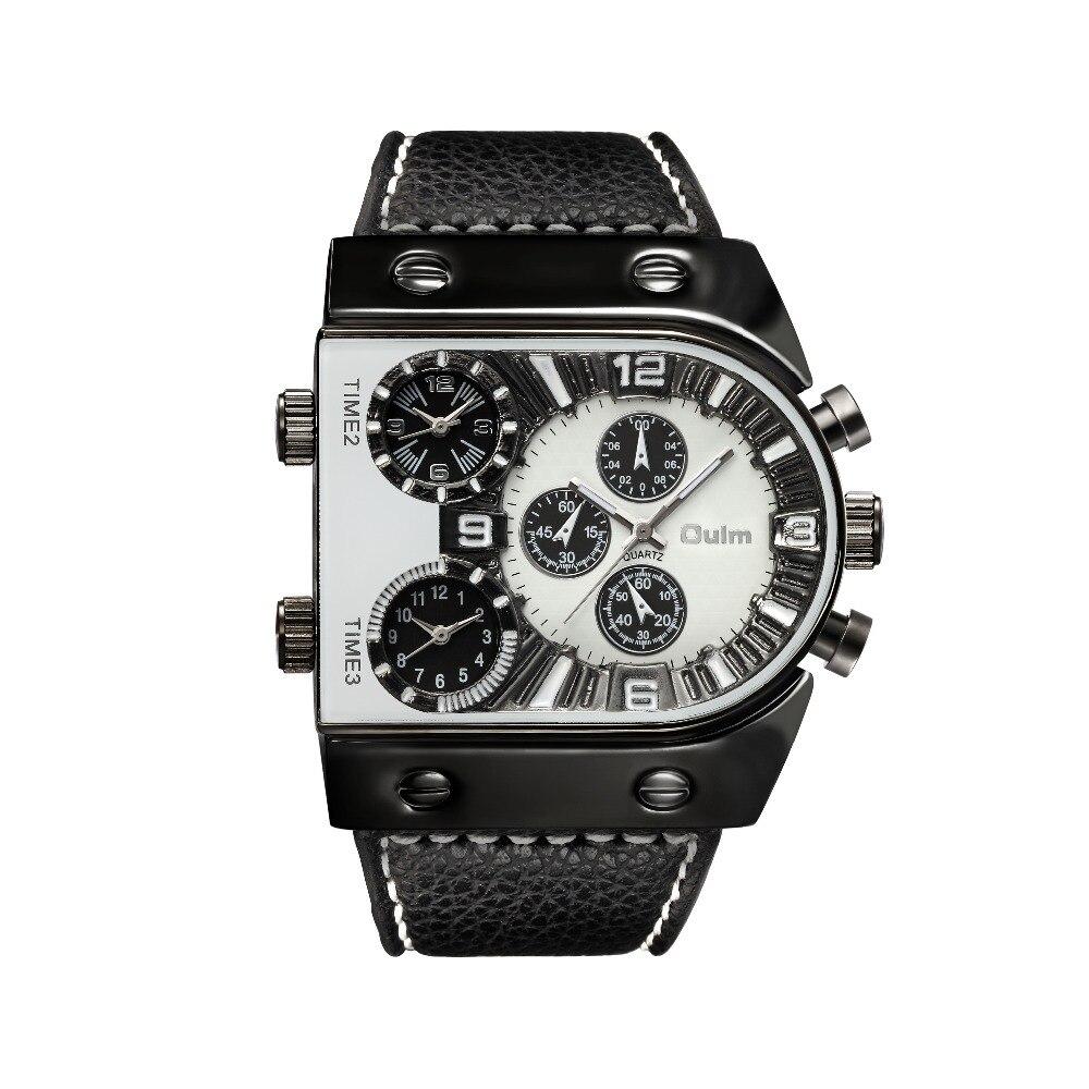 OULM Sport Watch Men Quartz Analog Clock 3 Time Zone Sub-dials Design Big case Oversize Fashion Black Wrist Watches relogio 17