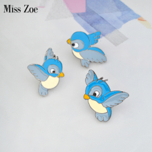 Miss Zoe Enamel blue bird pin Cartoon flying fledgling Animal Brooch Denim Jacket Pin Buckle Shirt Badge Gift for Kids(China)