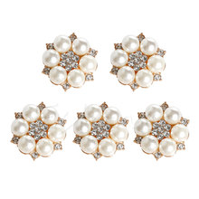 New 5Pc  Pearl Crystal Rhinestone Buttons Flower Round Cluster Flatback Wedding Embellishment Jewelry Craft
