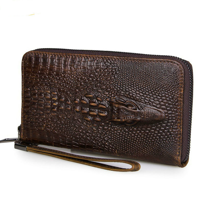 100% Genuine Leather Male Clutch Wallets Vintage Cowhide Crocodile Pattern Men Long Purse Capacity Hand Take Notecase PR558085<br>