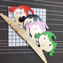 Cute Cartoon Princess Girls Wooden Children Clothes Hanger Lovely Wood Coat Rack Baby Hanger For Kids Room Decoration Hook