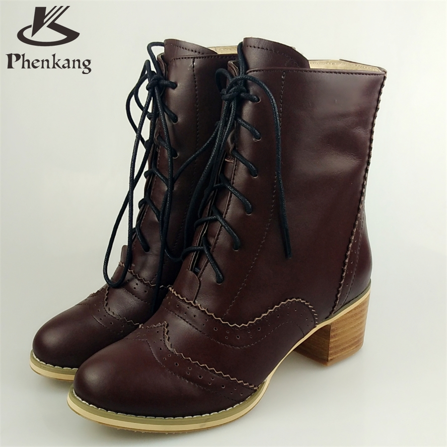 Genuine leather fashion normic british style vintage boots handmade carved martin boots female boots with lacing side zipper<br><br>Aliexpress