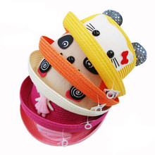 Fashion Animals Pattern Kids Sun Hat Girls Straw Hat Summer Infant Kids Children Cartoon Child Sun Hat(China)