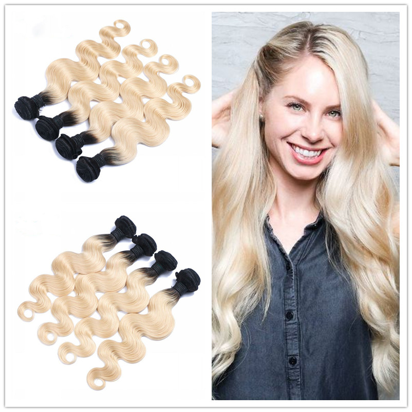 4pcs/lot Brazilian Dark Root Blonde Hair Body Wave Two Tone 1b 613 Virgin Hair 10-28 Ombre Brazilian Hair Weaves<br><br>Aliexpress