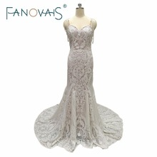 Buy Lace Mermaid Wedding Dresses Spaghetti Pearls Luxury Wedding Gowns robe de maree Vestido de novia 2017 Lace Boho Bridal Gowns for $311.25 in AliExpress store