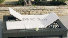 Elegant synthetic rattan sun bed