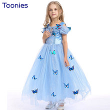 Dress Girl Formal Show Princess Kid Dresses 2017 New Design High Quality Butterfly Baby Girls Dress Party Costume Child Clothing(China)