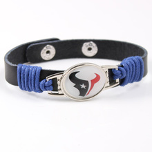 Houston Texans Genuine Leather Bracelet 12mm Adjustable Mens Black Leather Bracelet NFL Football Team Jewelry For Women