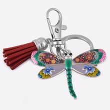 Fashion Enamel Dragonfly  Jewelry Key chains Bag's Accessory Insect Decoration Key Rings