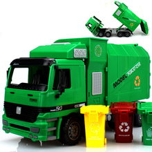 New Big Size New Jumbo Children's Large Man Side Loading Garbage Truck Can Be Lifted With 3 Rubbish Bin Toy Car Gifts for Kids(China)