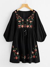 Fashion Women Tie Neck Lantern Sleeve Embroidered Smock Dress