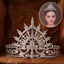 Hot European Sunburst Royal Crowns 2017 Russia Queen Chic Regal Show Silver Plated royal rhinestones Wedding tiaras and crowns