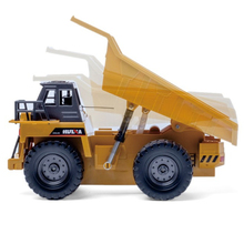 RC Dump Truck 2.4G Remote Control Big Alloy Diecast Truck 6 channel 4WD Engineer Vehicle USB Charging With Light Child Gift(China)