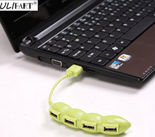 ULIFART Funny and Creative Green Bean Design Portable USB 2.0 HUB 4 Port High Speed Splitter Adapter Cable For Computer(China)