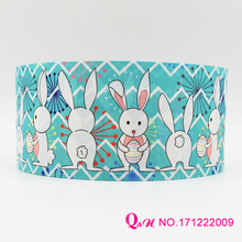 Q&N ribbon 16mm 22mm 25mm 38mm 50mm 75mm easter printed grosgrain ribbon webbing 50yards/roll for hair tie free shipping(China)