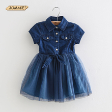Denim Summer Kids Clothes Cotton Patchwork Girls Dresses New Fashion Children Clothing Blue Party Brand Toddler Princess Dress