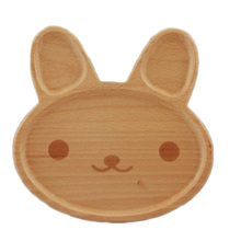 Cartoon Rabbit Face Wood Dinner Plate Cute Animal Pattern Food Fruits Dish Wooden Service Plate Kid's Wood Dining Tray(China)