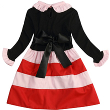 Girl Party Dress Kids Autumn Girls Dresses Stripe Wavy Kids Dresses For Birthday Party Casual Toddler Girl Clothing For 3-8Yrs