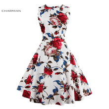 Charmian Women's Vintage Retro Dress Foral Print Rockabilly Christmas Dress Hepburn Casual Party Swing Dress Vestidos