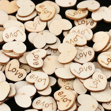 100pcs/Bag Rustic Wooden Wood Scrap Mini Love Heart Wedding Table Scatter Decoration Booking Crafts Heart Buttons