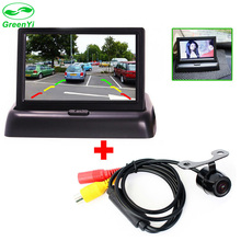 GreenYi Standing on the Panel 4.3 Inch Folding Car LCD Monitor with CCD Rearview Camera Waterproof Safe Driving