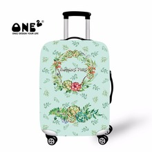 ONE2 2017 New Design luggage cover protector printing with Green Leaf Succulent Plant for unisex apply to 18-30 inch suitcase