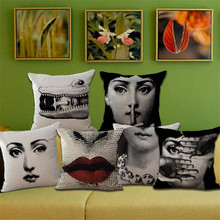 Fashion High Quality Retro Fornasetti Red Lips, Facial Expressions  Decorative Throw Pillow Case Cushion Cover Sofa Home Decor