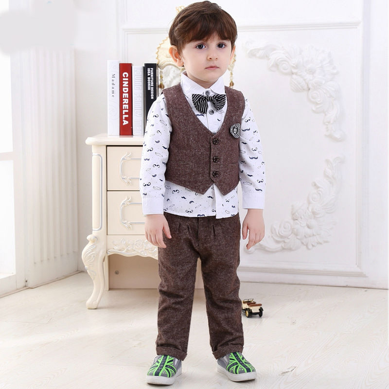 baby fashion clothes children 2015 baby boy set 3 pcs  v-neck vest full formal wool boys kids wedding suits tie bow kids set<br><br>Aliexpress