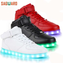 SAGUARO Casual LED Shoes Men Fashion High Top Light Up Glowing Shoes 2017 Adults Male Luminous Superstar Shoes Chaussure Homme