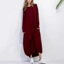 Today Plus2017 S-5xl Women Cotton Maxi Retro Long Sleeve Vintage Ethnic Winter Loose Dresses Casual Style Plus Size Kaftan Dress - TodayPlus Store store