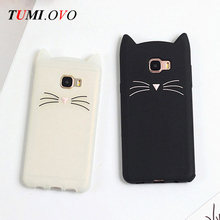 Cute 3D Cartoon Beard Cat Silicone Soft Case for Samsung Galaxy A3 A5 A7 J1 J3 J5 J7 2016 2017 S8 Plus S7 S6 Edge S5 S4 S3 Cover