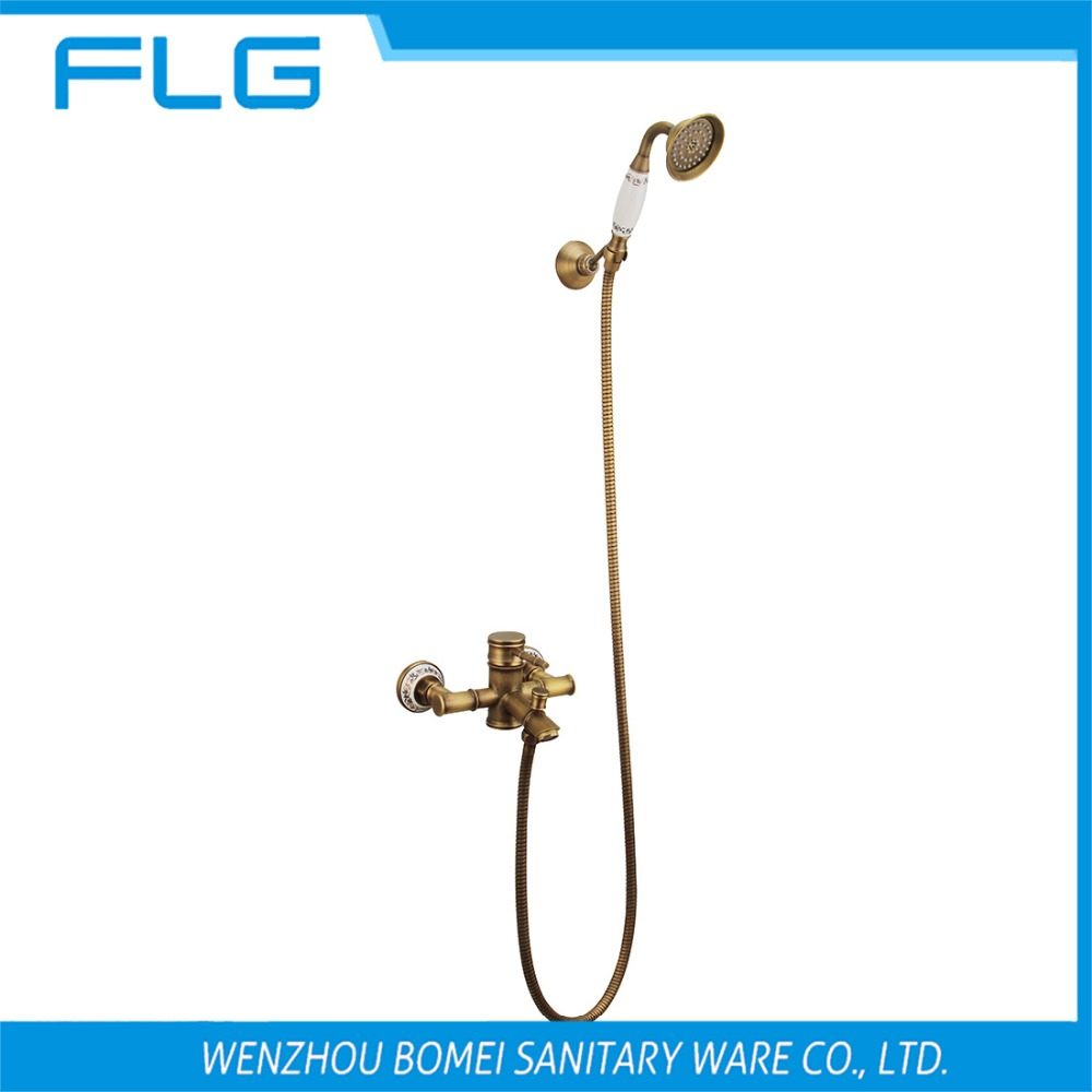 Free Shipping HS003 Wall Mounted Antique Brass Wall Mounted Shower Faucet With Ceramic Shower Head, Antique Brass Shower Set<br><br>Aliexpress