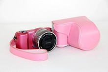 High Quality 6 Colors Leather Camera Bag Case For Sony A5000 A5100 NEX 3N NEX-3N 16-50mm lens Free Shipping Pink