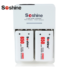 Soshine SC-V1(II) Portable Li ion NiMH Battery Charger LED + 2x 600mAh 9V Lithium ion Rechargeable Battery for Microphone RC