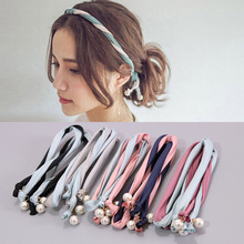 Women Headbands Summer Style Imitated Pearl Scrunchy Bunny Rabbit Ears Ribbon Wire Headband Hairbands Hair Hoop Hair Accessories