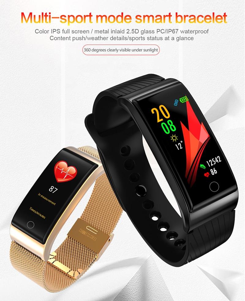VERYFiTEK F4 Metal Smart Band Wristband Blood Pressure Heart Rate Monitor Men Women Fitness Watch Pedometer Smart Bracelet (1)