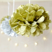 Metallic Gold/Silver 6pc 6inch(15cm) Tissue Paper Pom Poms Decorative Flower Balls Hanging Decor Showers Party Birthday Wedding