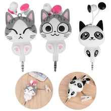 Cartoon Cat 3.5mm Wired Retractable In-Ear Earphones For girls children Earpiece clip headset for Phone mp3