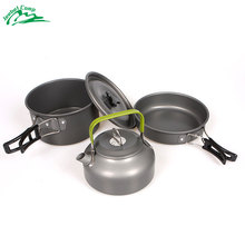 Jeebel Camping Backpack Tableware Outdoor Cookware Pot Picnic Canteen Survival Hiking Military Boiler Frying Teapot Set Kettle