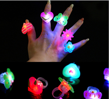 25pcs/lot Cartoon soft finger ring led flash luminous ring toy party props light up toy and kids birthday colorful gift