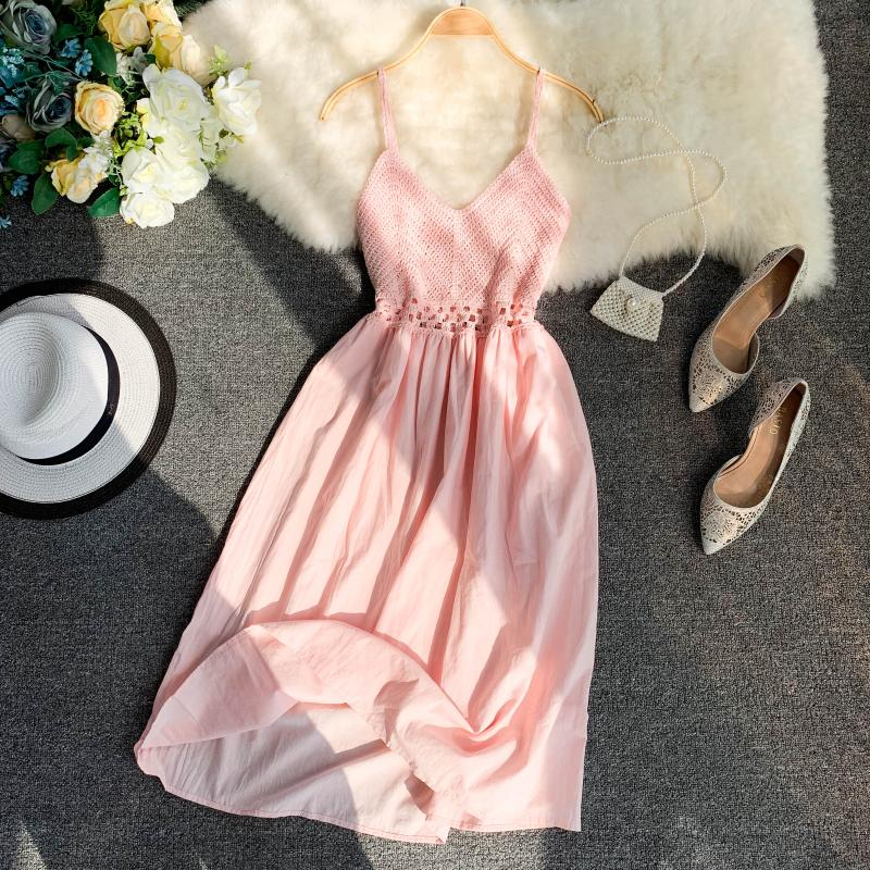 19 new fashion women's dresses Fresh openwork knit stitching V-neck strap high waist dress 18