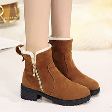 MOSHU Women 눈 Ankle Boots 암 Suede Zipper 겨울 Boots 떼 봉 제 퍼 숙 녀 Botas 보낸(China)