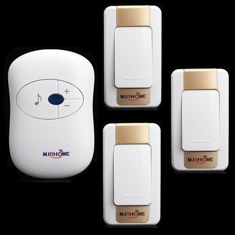 3 Transmitter +1 Receiver AC remote electronic doorbell wireless doorbell   waterproof home doorbell pager 110-220V Door Bell<br><br>Aliexpress